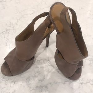Coach Leather/Suede Open Toe Heels